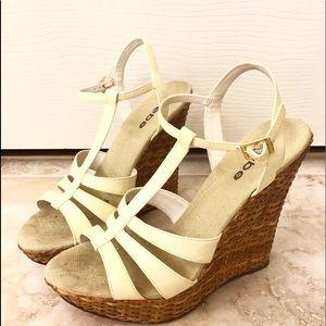 BeBe White Wedge Sandals